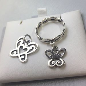 James Avery Butterfly Charm and Ring